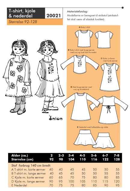 T-shirt, kjole og nederdel