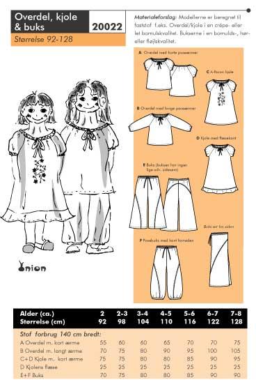 Overdel, kjole og buks