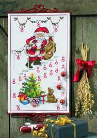 Hvid pakkekalender med Julemanden på trapper. Permin 34-1231.