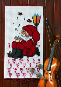 Hvid pakkekalender med syngende Julemand. Permin 34-1235.