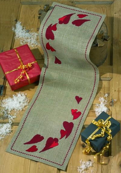 Hessian bordløber med røde hjerter