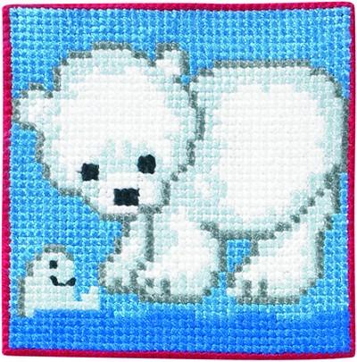 Blåt vægbroderi med isbjørn