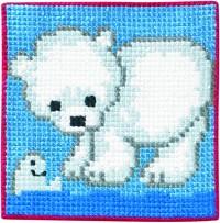 Blåt vægbroderi med isbjørn. Permin 9163.