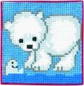 Permin 9163. Blåt vægbroderi med isbjørn.