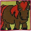 Permin 9164. Brun-grøn vægbroderi med hest.