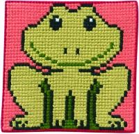 Pink-grøn med frø - påtegnet. Permin 9165.