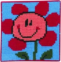Lyseblåt broderi med blomst. Permin 9168.