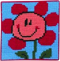 Permin 9168. Lyseblåt broderi med blomst.