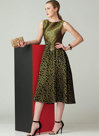 Tilpasset, klokkeformet ærmeløs kjole, Zandra Rhodes. Vogue 1566.