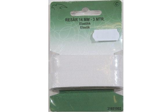 Hvid elastik 14 mm bred, 3 meter