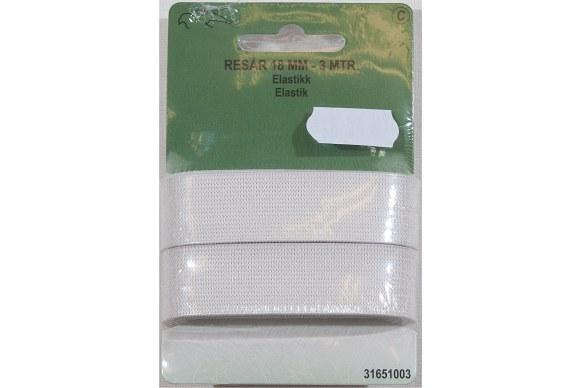 Hvid elastik 18 mm bred, 3 meter