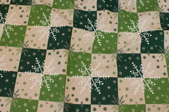 Hørlook med trykte tern i grønne farver og hvide snefnug