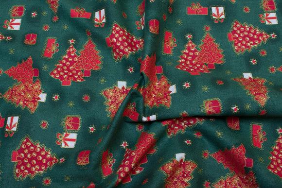 Grøn julestof med røde juletræer
