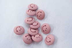 Smiley knap med øje gl.rosa 1,7cm
