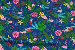 Blå bomuldsjersey med blomster og fugle