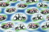 Blå bomuldsjersey med traktorer