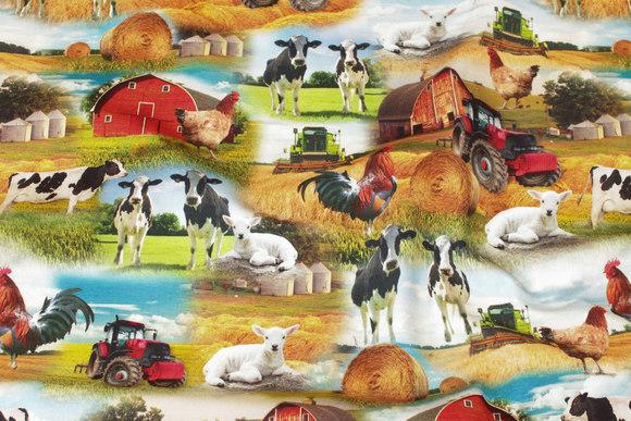 Bomuldsjersey med bondegårdsmotiver