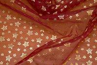 Bordeauxfarvet organza med guld stjernetryk
