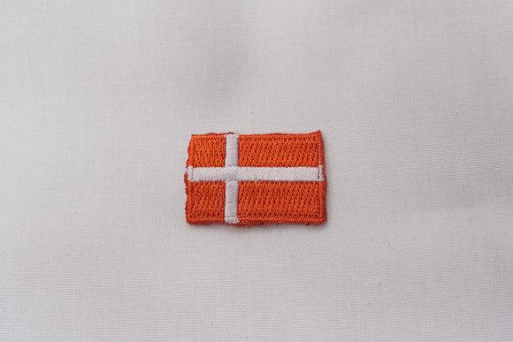 Dansk flag strygemærke, 3 x 2 cm