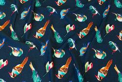 Dyb mørkblå bomuldsjersey med fugle