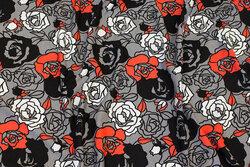 Grå viscose-jersey med ca. 5 cm roser i sort, hvid og rød
