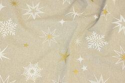 Hørfarvet bomuld og polyester med stjerner og snefnug i hvid og guld