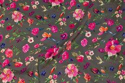 Jordfarvet micro-polyester med pink blomster