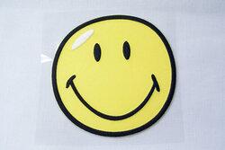 Kæmpe smiley strygemærke Ø12cm