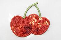 Kirsebær paillet strygemærke 4 x 6 cm