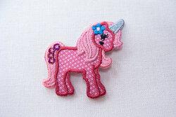 Lille enhjørning strygemærke pink  3cm