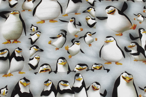 Lysegrå bomuldsjersey med pingviner