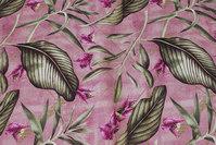 Meleret fuchsia-farvet, mellemsvær bomuld med grønne blade