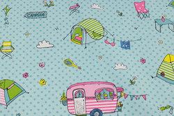 Mellemsvær bomuld-polyester mintgrøn med campingvogne og telte