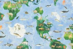 Mellemsvær bomuld med verdenskort og dyr