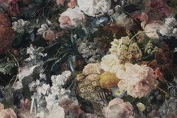 Mellemsvær bomuldscanvas med elegante blomster i digitaltryk
