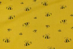 Mørk gul crinkle bomuld med bier