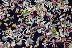 Mørk marine viscose jersey med blomster og sommerfugle
