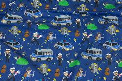 Mørkeblå bomuldsjersey med politi og røvere
