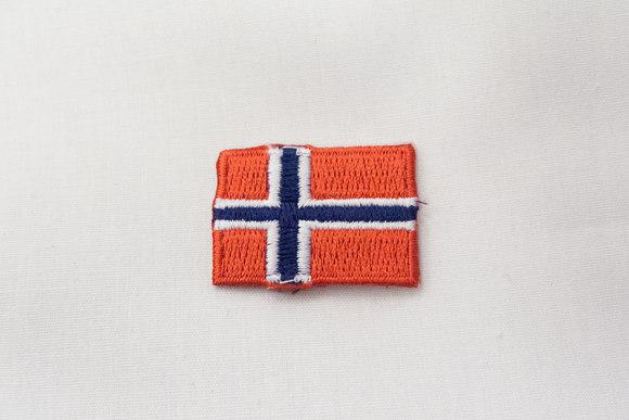 Norsk flag strygemærke, 3 x 2 cm