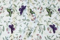 Off white bomuldsjersey med sommerfugle og planter