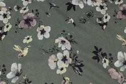 Oliven micro-polyester med blomster og fugle