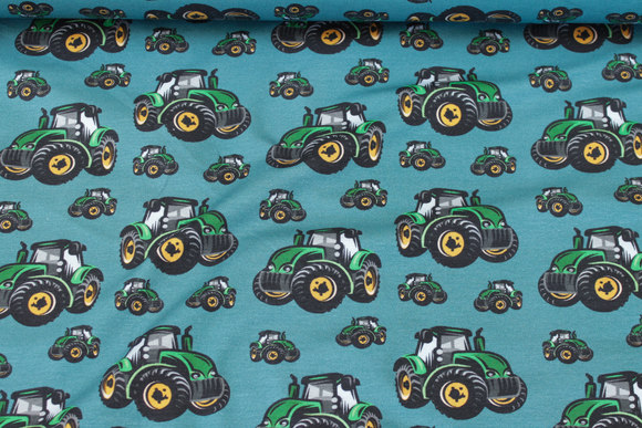 Petrol bomuldsjersey med grønne traktorer