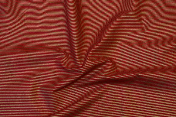 Rød bomuld med 2 mm guldstriber