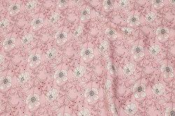 Rosa bluse-viscose med hvide blomster