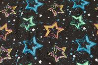 Sort bomuldsjersey med stjerner i flotte neonfarver