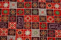 Ternet julestof i flotte røde farver