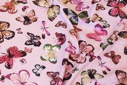 Rosa, let joggingstof med sommerfugle