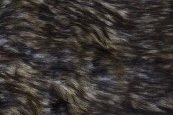 Imit. langhåret luxus pels i gråbrun/sort