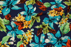 Marine bluse-viscose med ca. 15 cm turkis blomster