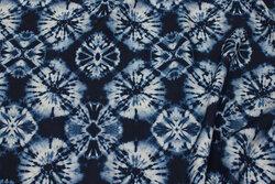 Marine bluse-viscose med lyseblåt batikmønster